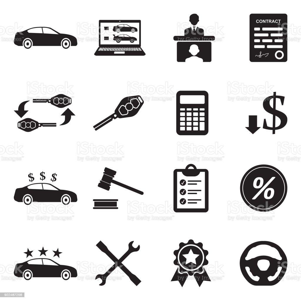 Icônes de concessionnaire de voiture. Design plat noir. Illustration vectorielle. - Illustration vectorielle