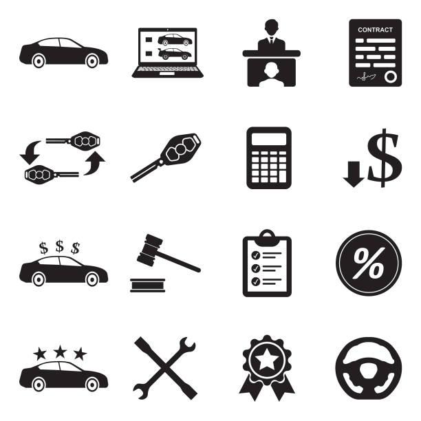 ilustraciones, imágenes clip art, dibujos animados e iconos de stock de iconos del distribuidor de coche. diseño plano negro. ilustración de vector. - corredor de bolsa