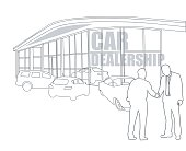 """A vector silhouette illustration of a sales man shaking the hand of a customer at a car dealership outside with several cars inside and outside of the building.  Text on the bulding window reads """"car dealership""""."""