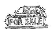 Car Dealership For Sale Sign Drawing