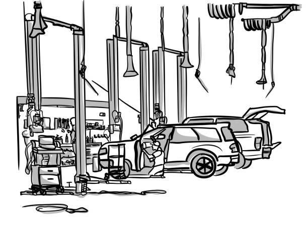 Car Dealership Garage Generic vector art illustration