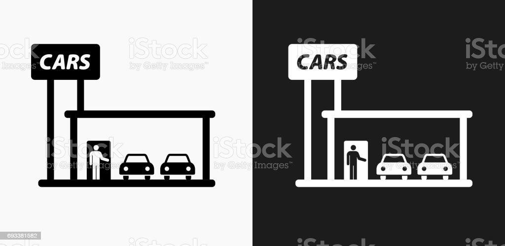 Auto-Händler-Symbol auf schwarz-weiß-Vektor-Hintergründe – Vektorgrafik