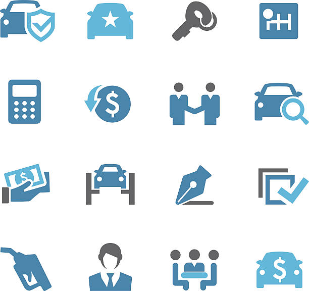 Car Dealership Icons - Conc Series View All: lease agreement stock illustrations