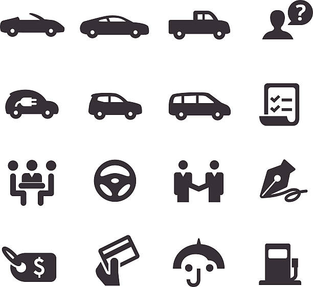 Car Dealership Icons Set - Acme Series View All: test drive stock illustrations