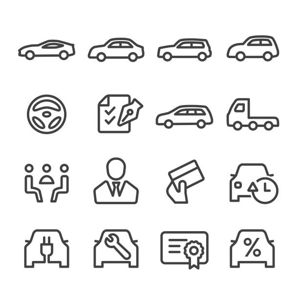 Car Dealership Icons Set - Line Series Auto Dealership, car dealership, sale, car, land vehicle, test drive, service, automobile industry stock illustrations