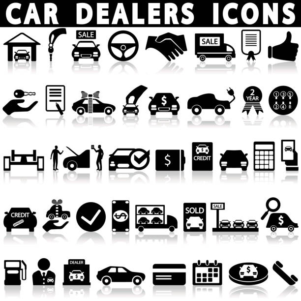 Car dealership icons set. Car dealership icons set on a white background with a shadow test drive stock illustrations