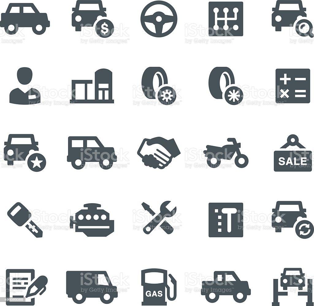 Autohandlung Symbole – Vektorgrafik
