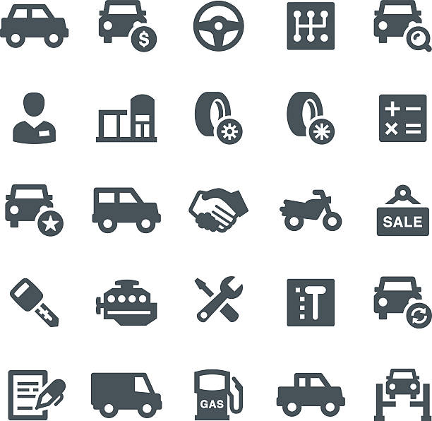 Car Dealership Icons Car, car dealership, transport, icon, icon set, engine, showroom, vector automobile industry stock illustrations