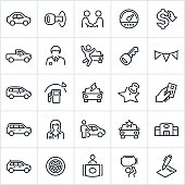 A set of auto dealer icons in contour/outline style. The icons consist of different types of cars and include a sedan, truck, SUV and electric car. Also included is a car key, car salesman, odometer, car dealership, car repair and contract to name a few.