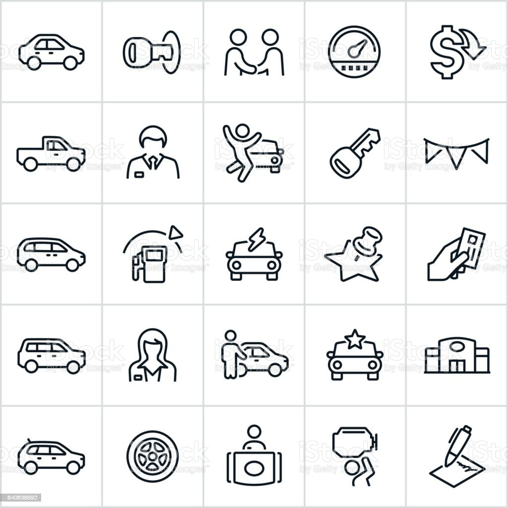 Car Dealership Icons - illustrazione arte vettoriale