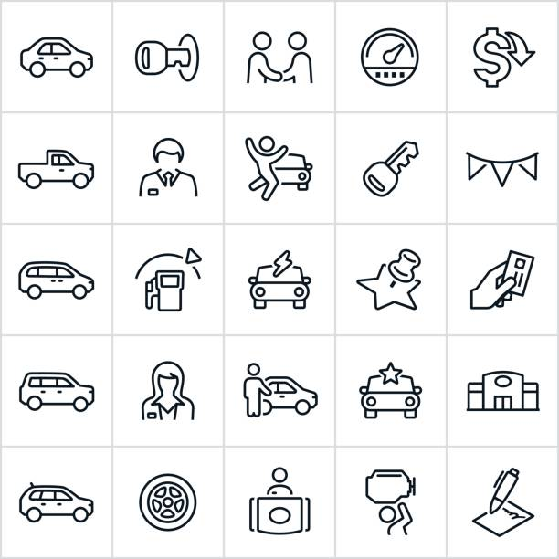 car dealership icons - car stock illustrations