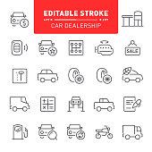 Car dealership, transport, editable stroke, outline, icon, icon set, engine, showroom