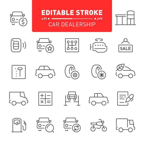 Car Dealership Icons Car dealership, transport, editable stroke, outline, icon, icon set, engine, showroom gearshift stock illustrations