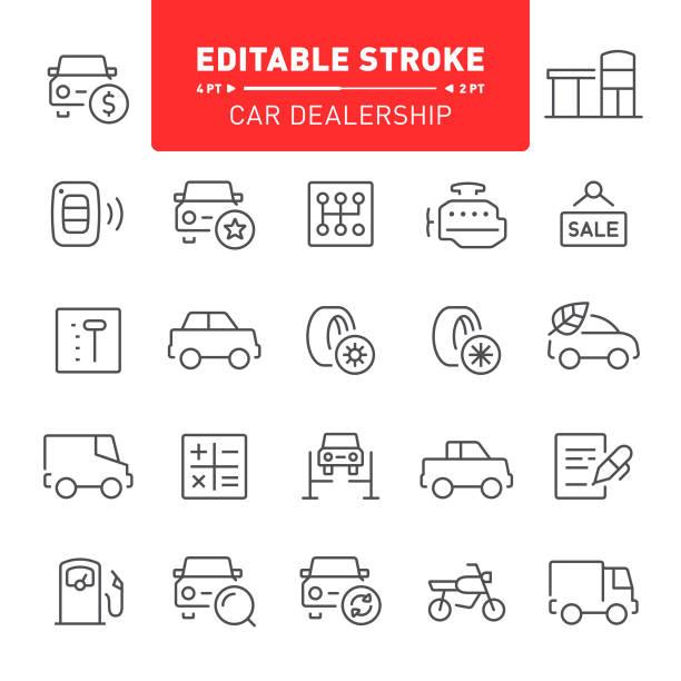 Car Dealership Icons Car dealership, transport, editable stroke, outline, icon, icon set, engine, showroom automobile industry stock illustrations