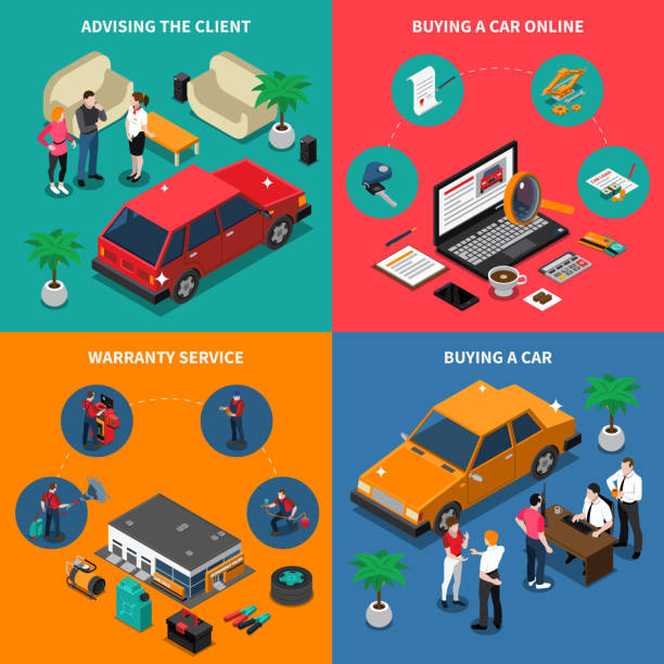 car dealership isometric 2x2 Car dealership isometric concept with advising customer and online purchase warranty service buying vehicle isolated vector illustration car salesperson stock illustrations