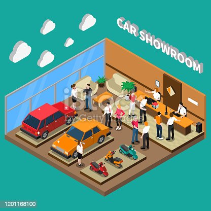 Car showroom with managers and customers computer equipment vehicles interior elements on turquoise background isometric vector illustration