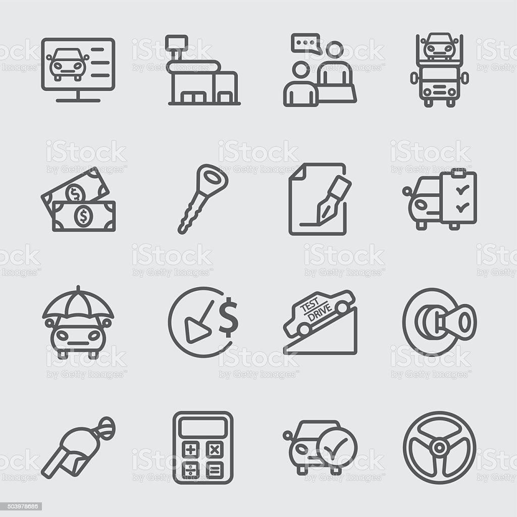 Autohandlung Linie-icon – Vektorgrafik
