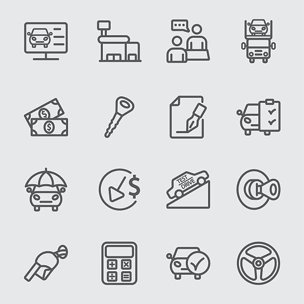 Car Dealership line icon Car Dealership line icon lease agreement stock illustrations