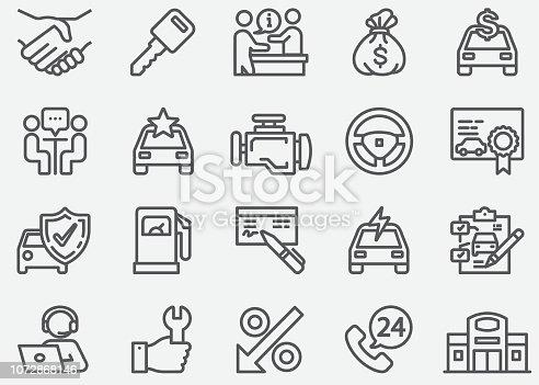 Car Dealership Line Icons