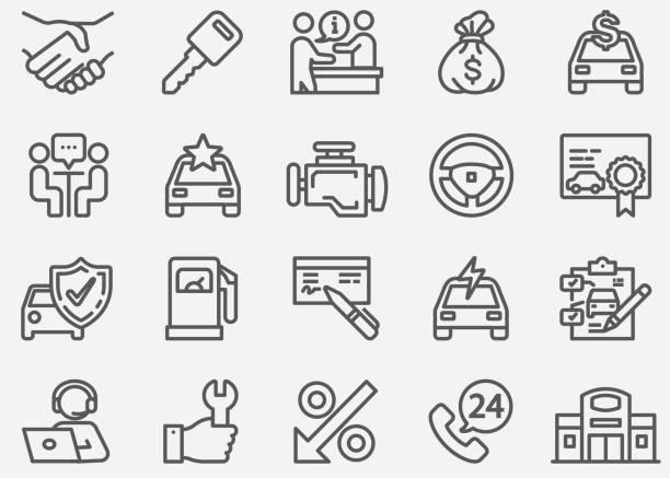 Car Dealership Line Icons Car Dealership Line Icons showroom stock illustrations