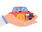 Car Dealership Service Flat Vector Illustration. Salesman Hand Holding Golden Coin and Miniature Sedan. Automobile Shop, Rental. Transport Showroom, Lease Center. Vehicle Insurance Business
