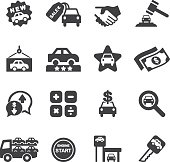 Car Dealership Silhouette icons| EPS10
