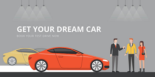 自動車ショールーム - 小売販売員点のイラスト素材/クリップアート素材/マンガ素材/アイコン素材