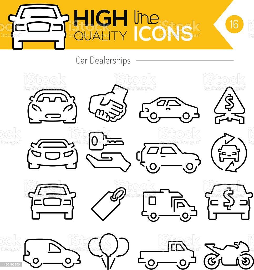 Auto Autohäusern Linie icons – Vektorgrafik