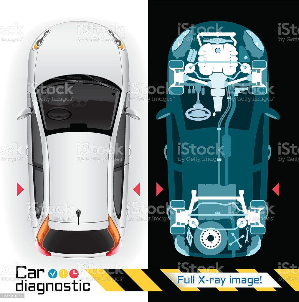 Car Diagnostic Full X-ray vector art illustration