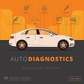 Car diagnostics background template. Auto inspection or garage