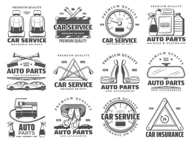 kfz-diagnose-service, auto-reparatur, ersatzteile - funktionssofa stock-grafiken, -clipart, -cartoons und -symbole