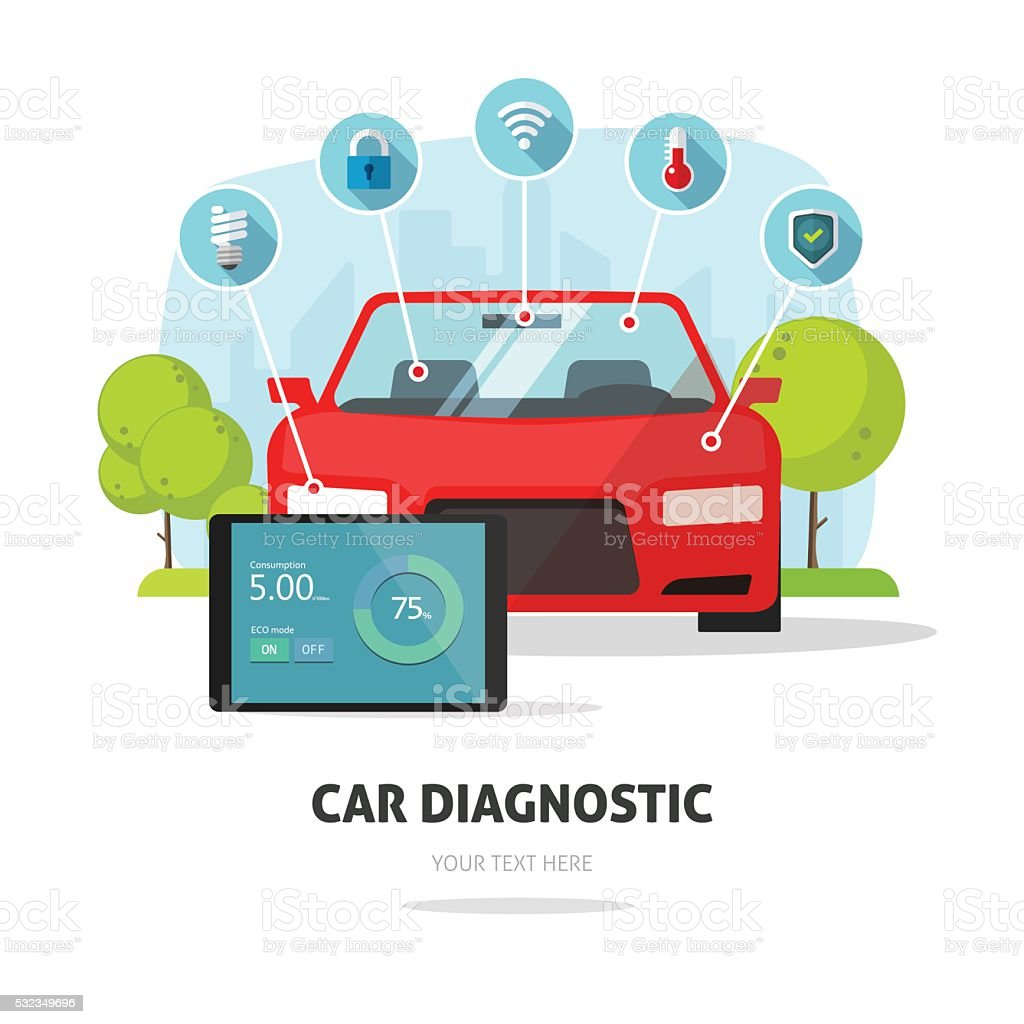 Car diagnostics test service, protection insurance concept parts service vector art illustration