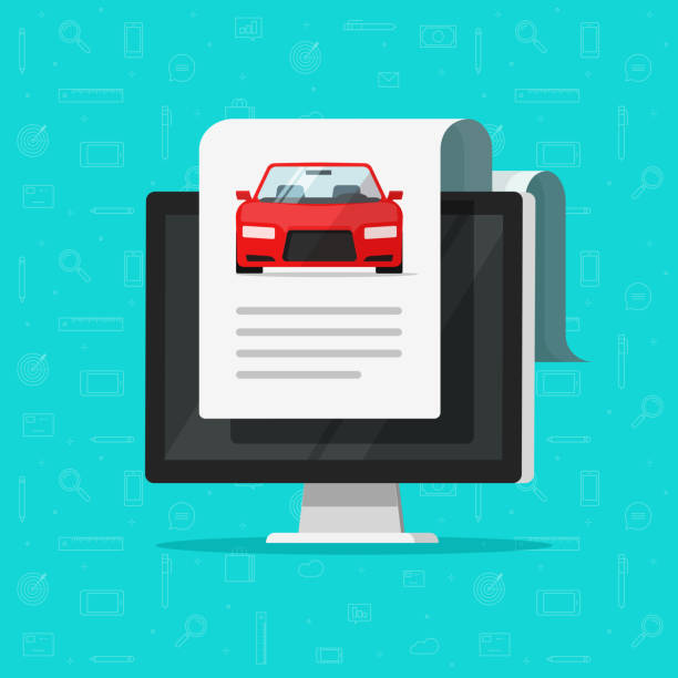 Car document text on computer vector illustration, flat automobile with online paper page data report or description, idea of electronic auto history, digital shopping or rental service Car document text on computer vector illustration, flat cartoon automobile with online paper page data report or description, idea of electronic auto history, digital shopping or rental service car salesperson stock illustrations