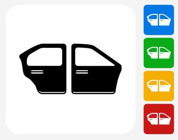 Car Doors Icon Flat Graphic Design Car Doors Icon. This 100% royalty free vector illustration features the main icon pictured in black inside a white square. The alternative color options in blue, green, yellow and red are on the right of the icon and are arranged in a vertical column. vehicle door stock illustrations
