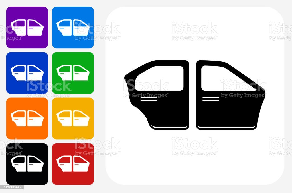 Car Doors Icon Square Button Set - Royalty-free Blue stock vector