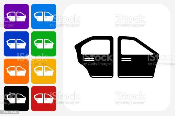 Bil Dörrar Ikonen Square Knappen Set-vektorgrafik och fler bilder på Bil