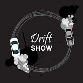 Car drift card vector illustration. Drift show banner, poster, brochure, flyer. Top view of a drifting vehicles. Competition between participants banner, poster. Street racing, racing team, tuning.