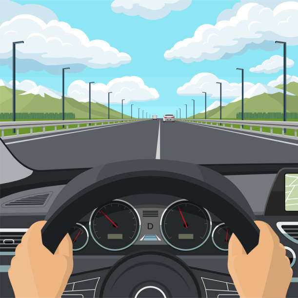 Car drive POV concept. View from inside of a car. The driver's hands on the steering wheel, the dashboard, the car interior, the highway and traffic. Vector illustration Car drive POV concept. View from inside of a car. The driver's hands on the steering wheel, the dashboard, the car interior, the highway and traffic. Vector illustration training equipment stock illustrations