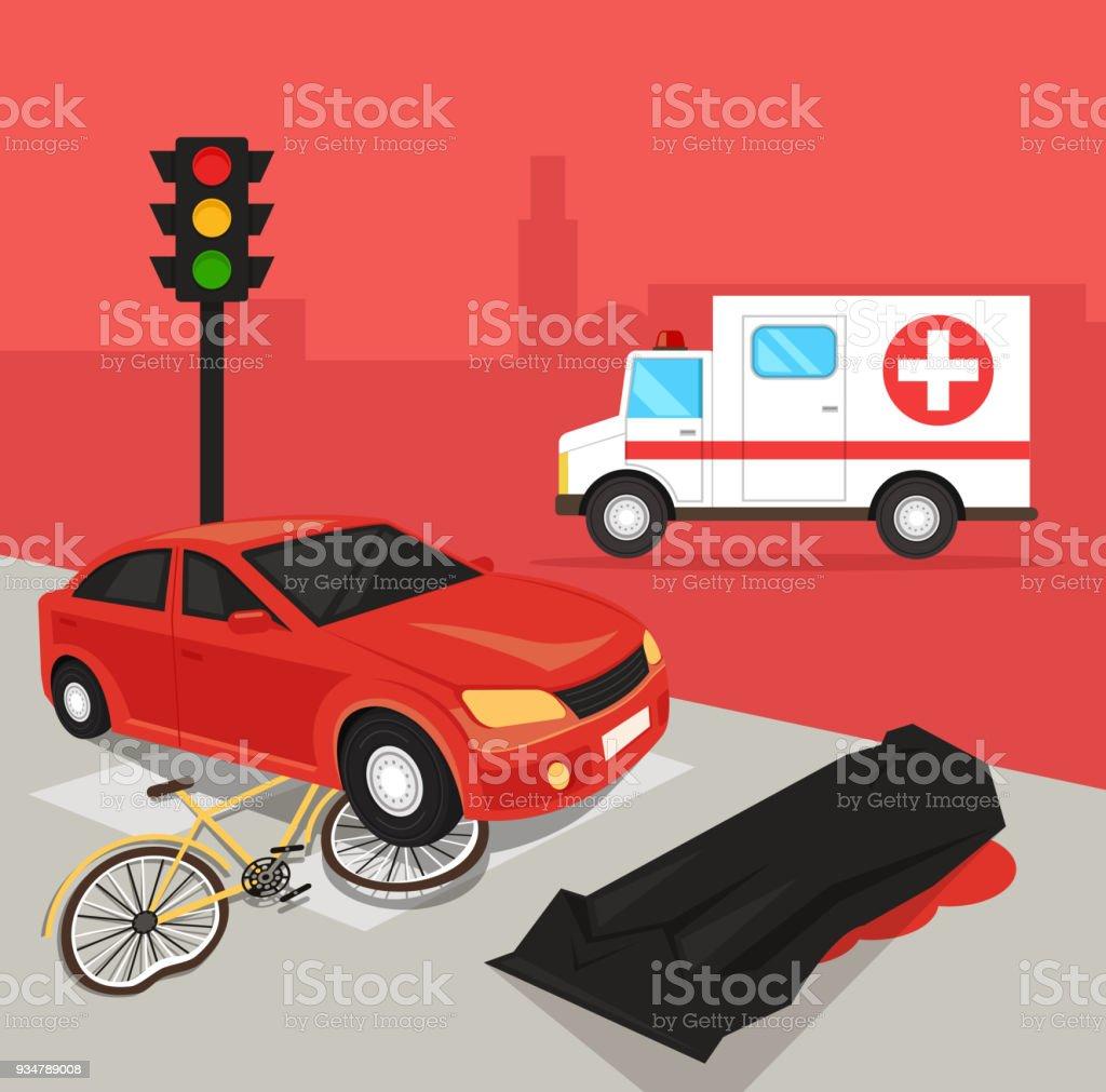 Car driver hit cyclist by car. Automobile crash damage drunk driver concept. Road accident disaster victim dead body corpse concept vector art illustration