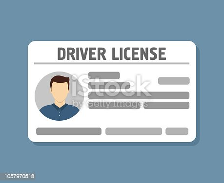 istock Car driver license identification with photo 1057970518