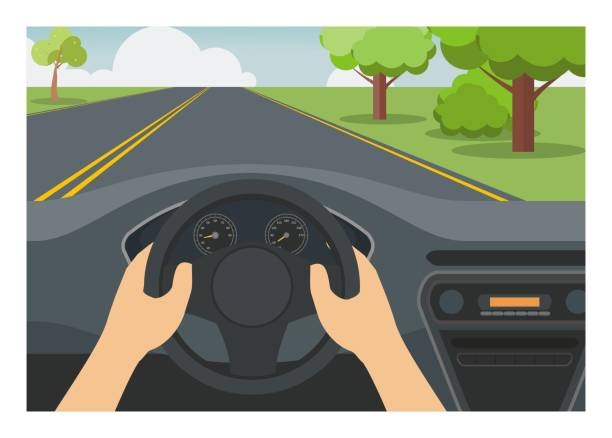 Car driver view. Simple illustration. Simple illustration of car driver view. steering wheel stock illustrations