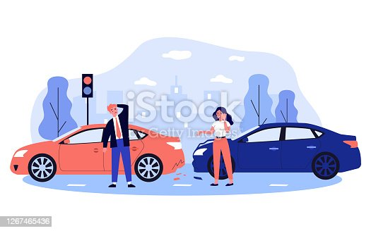 istock Car drivers in accident on city street 1267465436