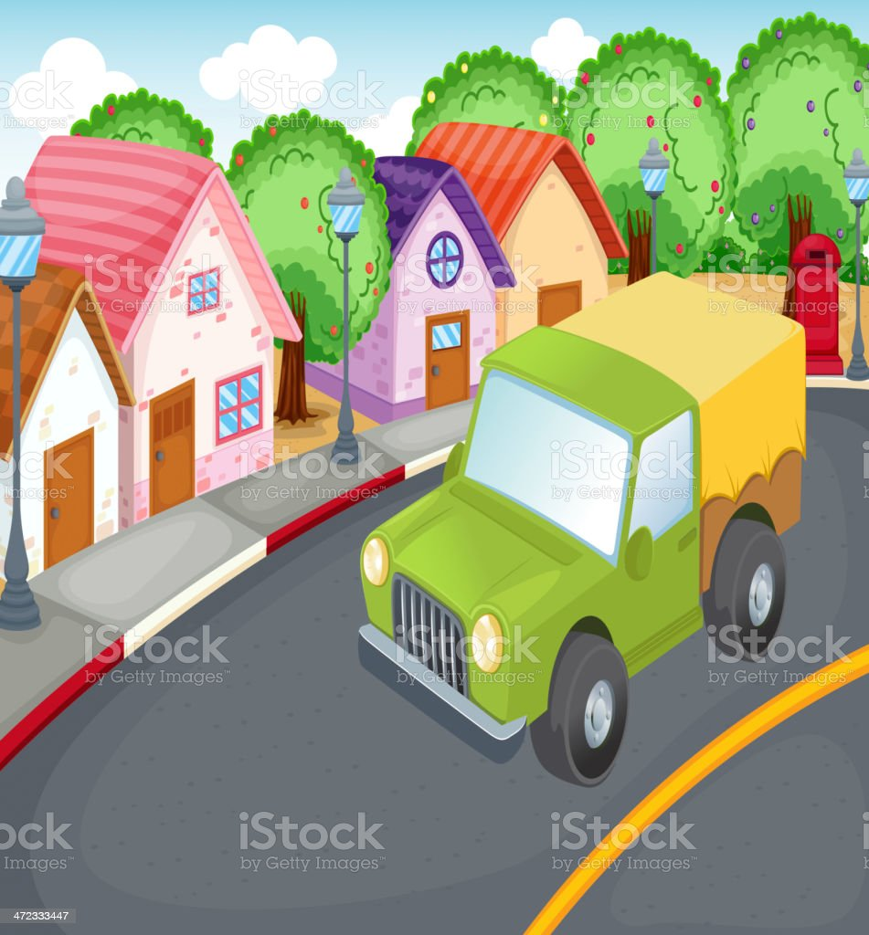 Car driving on road royalty-free stock vector art