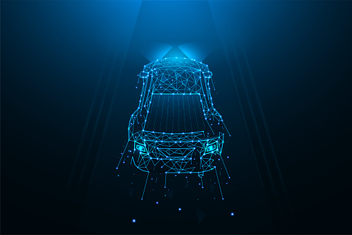 Car driving on the road polygonal vector illustration. A car made of lines and dots on a dark blue background