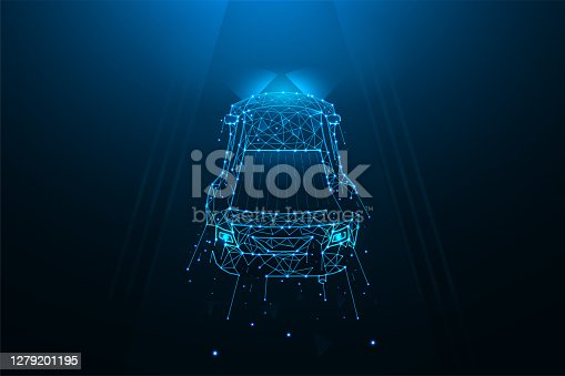 istock Car driving on the road polygonal vector illustration. A car made of lines and dots on a dark blue background 1279201195