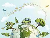 Fuel efficient car for a green planet.. Global Conservation Concept illustration. Small  green cartoon Car Driving Over top of world Globe with Trees, Flowers,daisies and Birds. The globe has part of North america showing. The sky has daisies arched with fluffy clouds.