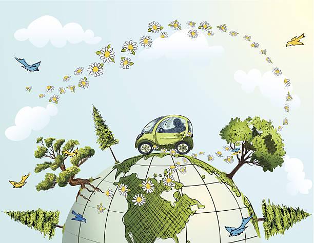 auto fahren auf globus mit bäumen, blumen und vögel - landscape crazy stock-grafiken, -clipart, -cartoons und -symbole