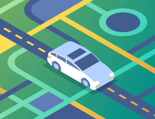 Car Driving Street Navigation Street navigation driving vehicle map concept. hatchback stock illustrations