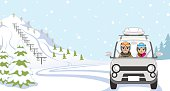 Car Driving to Ski Slope, Young Couple  - Front view.