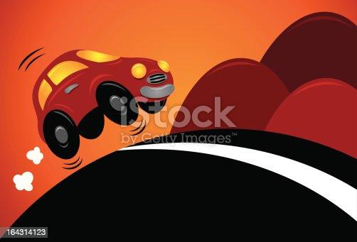 istock Car driving uphill 164314123